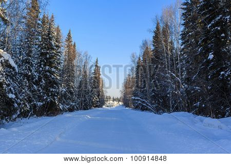 White Snow Road At Sunny Day