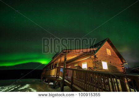 Wooden House, Aurora, Night Sky At Alaska, Fairbanks