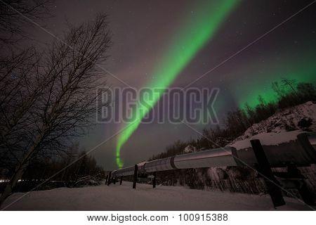 Big Pipe, Aurora, Night Sky At Alaska, Fairbanks