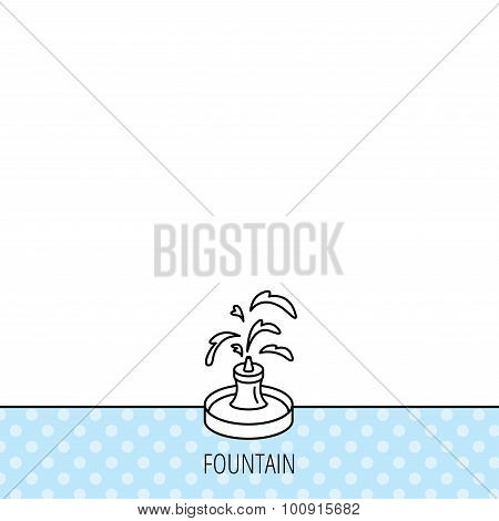 Fountain icon. Water in park sign.