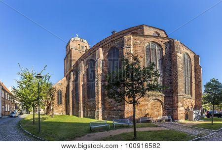 Gothic St Petri Church In Wolgast Under Blue Sky