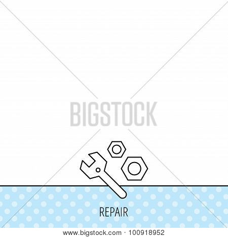 Repair icon. Spanner tool with screw-nut sign.