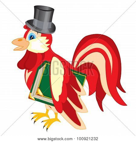 Cock in hat with book