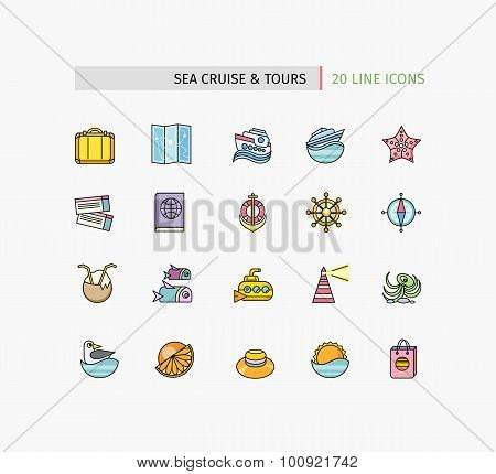 Set of Thin Lines Icons Sea Cruise and Tour