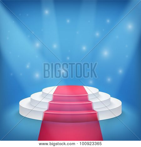 Photorealistic Winner Podium Stage with Blue Stage Lights and Re