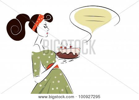 Woman with a Cherry Cake