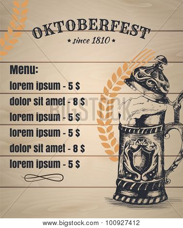 Oktoberfest typographical vintage background with hand drawn beer mug and spica. Vector Template of