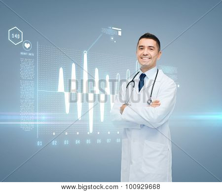 healthcare, cardiology, future technology and people and medicine concept - smiling male doctor in white coat with cardiogram on virtual screen over gray background