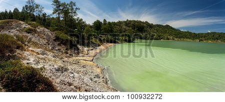 Wide Panorama Of Sulphurous Lake - Danau Linow Indonesia
