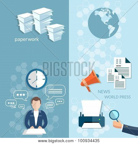 Working In The Office Stationery Office Businessman Financial Paperwork Banners