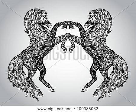 Vector Hand Drawn Couple Of Horses In Graphic Ornamental Style
