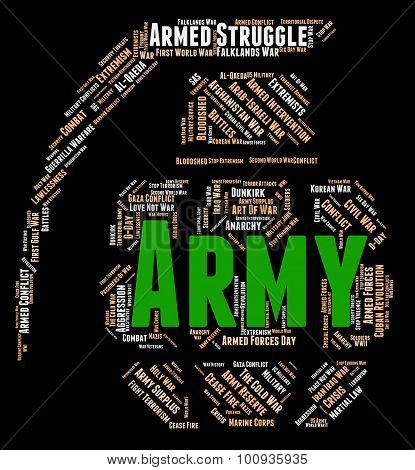 Army Word Represents Defense Forces And Armament