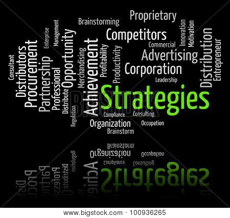 Strategies Word Shows Strategy Vision And Plan