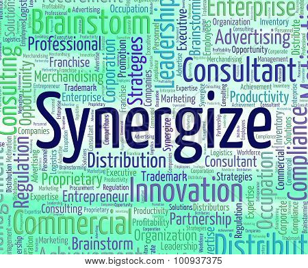 Synergize Word Indicates Work Together And Partner