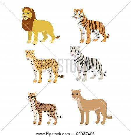 Cartoon set: lion tiger leopard white tiger puma ocelot.