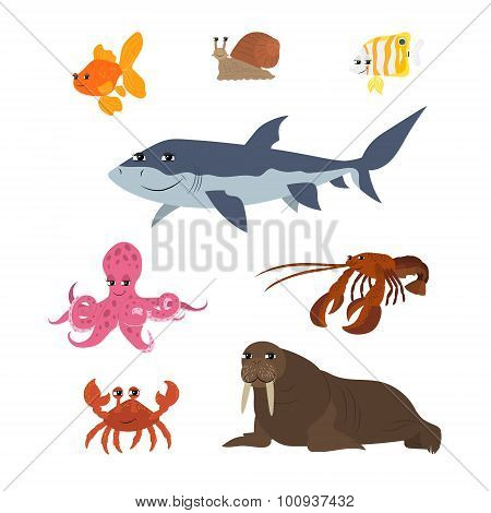 Cartoon set: goldfish snail shark fish butterfly octopus crab walrus lobster.