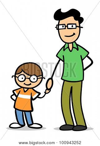 Smiling father and his son with glasses holding hands