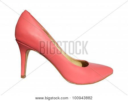 One pink high heel shoe isolated on white background