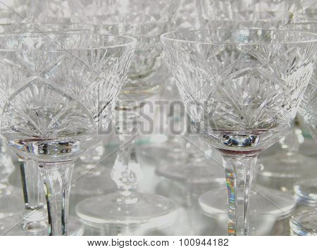 Crystal stemware with beautiful light reflections, can be used as background