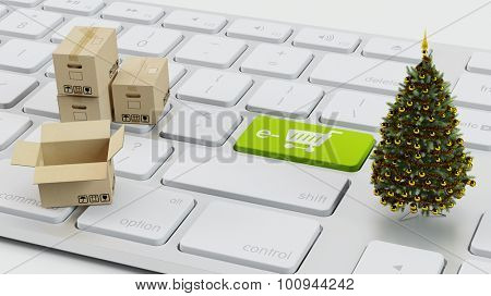 E-Commerce concept with christmas tree and packaging boxes on computer keyboard (3D Rendering)