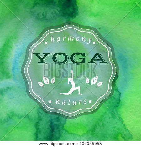 Poster for yoga studio with a green watercolors background.