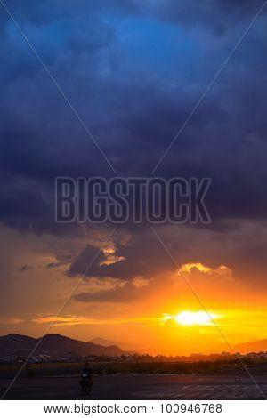 View Of Fantastic Sunset Under Strange Cumulus Clouds