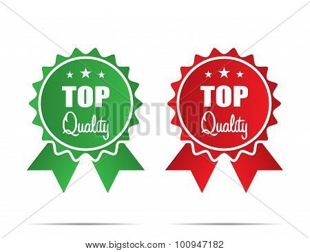 Top Quality Ribbons with shadow on white background flat style