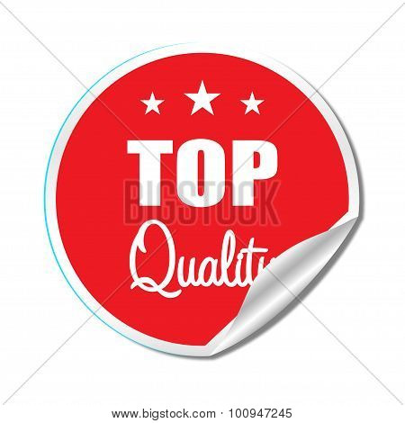 Top Quality label with shadow on white background flat style