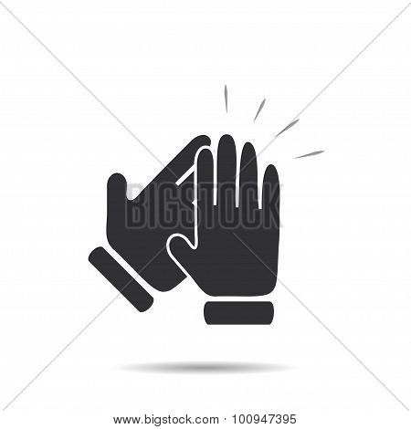 Hands clapping symbol icon with shadow stylish