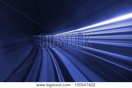 Speed motion in dark blue tunnel