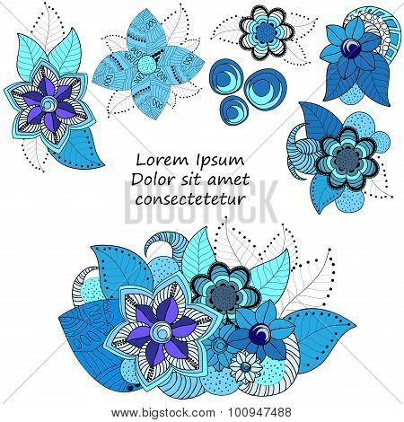 Stock Vector Floral Blue Doodle Pattern