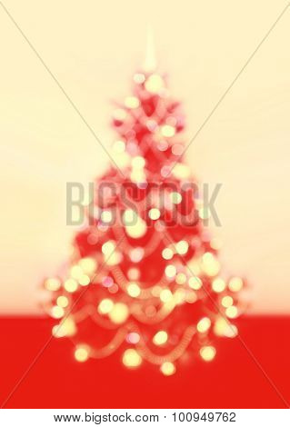 Background of Christmas, New Year tree with defocused lights.