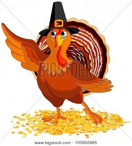 Illustration of cute pilgrim turkey