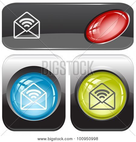 open mail with sound. Vector internet buttons.
