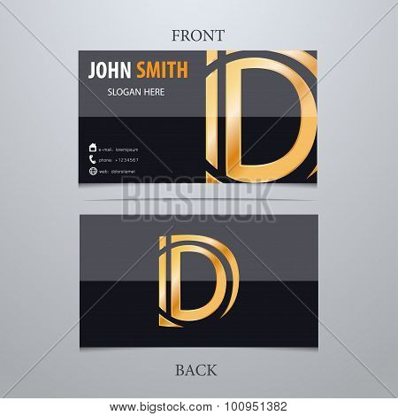 Vector Gold Metallic Business Card Template, Letter D. Trendy Business Elements.