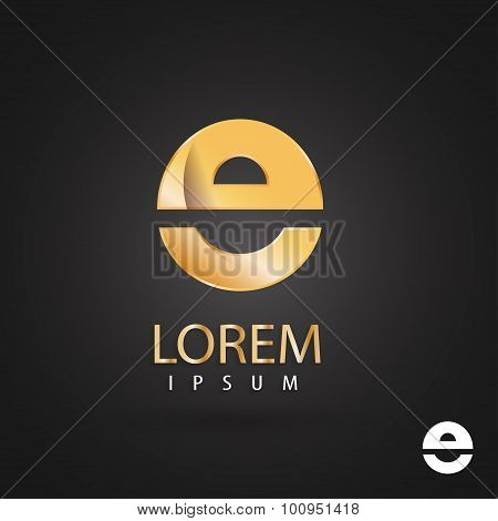 Golden Logo Design, Letter E. Creative Metallic Vector Icon. Trendy Business Elements.