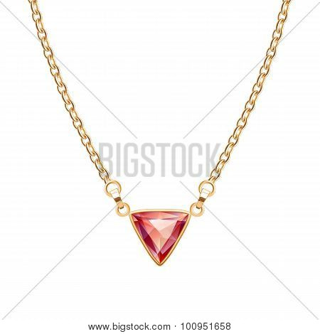 Golden chain necklace with triangle ruby pendant.
