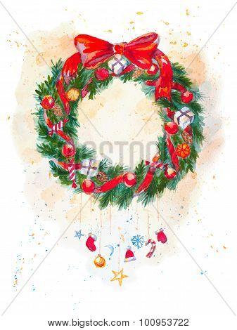 Hand drawn watercolor Christmas Garland