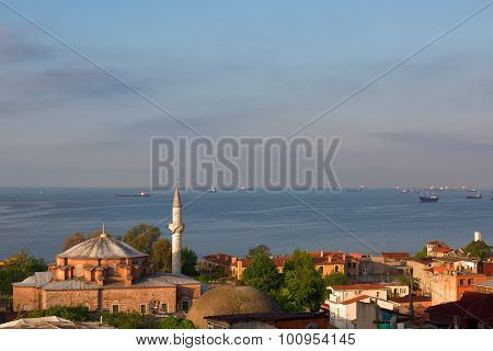 Ships In The Sea Of Marmara And A Mosque At Sunrise, Istanbul