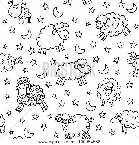 Seamless pattern with sheep in night