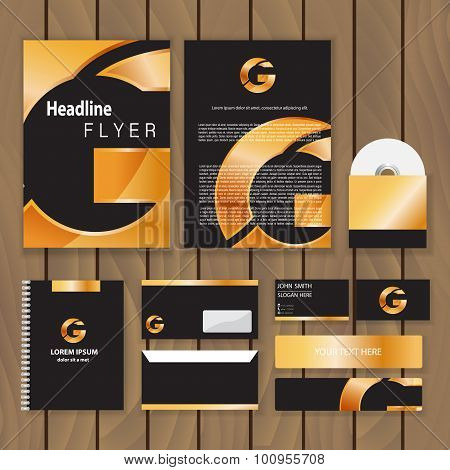 Metallic Gold Corporate Identity. Trendy Business Concept With Logo Design Template. Vector Illustra