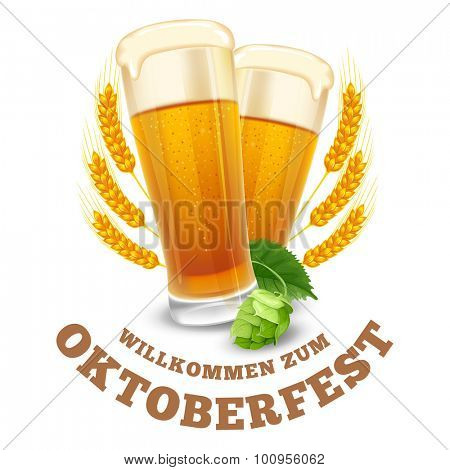 Modern stylized emblem with glasses of beer with text Beer festival Oktoberfest. Isolated on white background. Vector illustration.