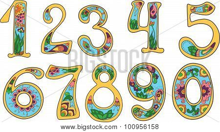 Set of colorful hand drawn numerals, fancy doodles numbers collection in bright colors