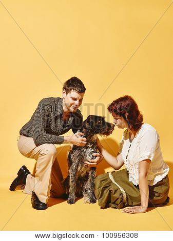 Couple And Dog Together, 70's Look Theme