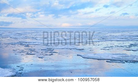 Winter Seascape With Floating Ice Fragments O