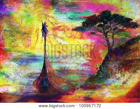 Viking Boat on the beach with tree, color painting collage , Boat with wood dragon.