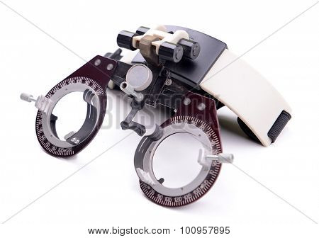 Spectacles for eye test isolated on white