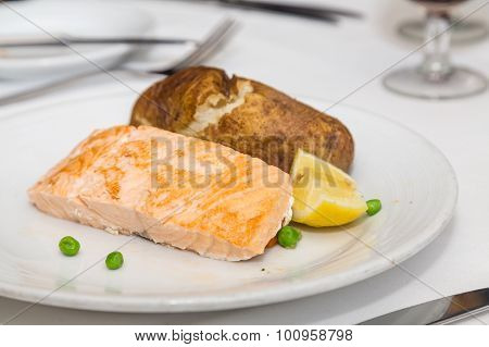 Poached Salmon And Baked Potato