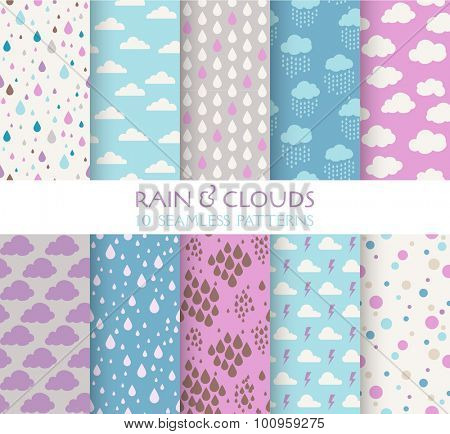 10 Seamless Patterns - Rain and Clouds - Texture for wallpaper, background, texture, scrapbook - in vector