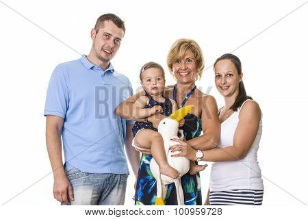 Happy Family with child and grandma